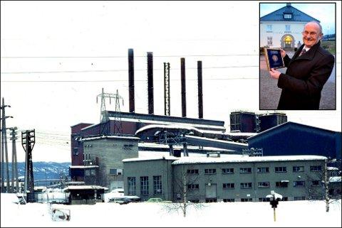 HYGGELIG GEST: Jernverket til Tinfos slik det så ut før fabrikkene ble lagt ned på 80-tallet. Mange har hatt sin arbeidsplass der gjennom årene og tidligere direktør, Ole Holta (innfelt), setter pris på at så mange mener at minnene om Jernverket bør leve videre gjennom gatenavn.