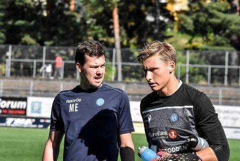 FORNØYD: NFK-trener Magnus Erga og keeper Andreas Smedplass.