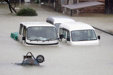 Tyfonen Hagibis raste over Japans hovedstadsområde Tokyo lørdag.
