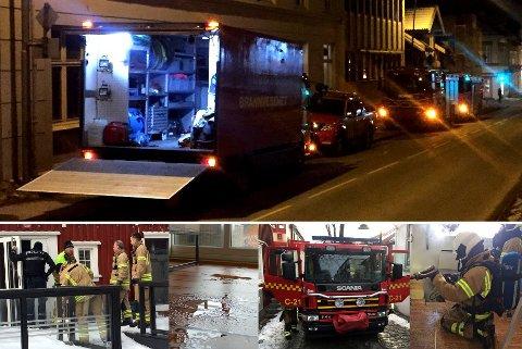 RYKKET UT: Restverdisikringsbilen (foran) og flere brannbiler rykket ut til vannlekkasje i Stoltenbergs gate i Tønsberg lørdag kveld (toppbildet). Det var langtifra den eneste lekkasjen de hadde å stri med i helgen.