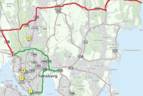 Russen har ikke lov å rulle sørøst for den røde streken på kartet. Grønn strek viser hvor russen kan kjøre når de skal forflytte seg gjennom området.