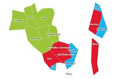 RØDT, GRØNT ELLER BLÅTT? Det er store forskjeller på hva folk stemte i de forskjellige delene av kommunene. I de klikkbare kartene i bunn av artikkelen kan du se detaljert oversitk over over din valgkrets.