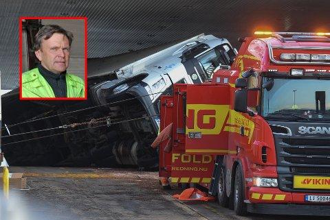 – GIKK GREIT: Morten Fjellstad var med å rydde opp etter ferjedramaet tirsdag morgen.