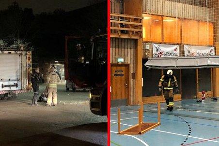 TOK FYR: Det begynte å brenne i Eikhallen lørdag kveld. Politiet mistenkte raskt at brannen var påtent.