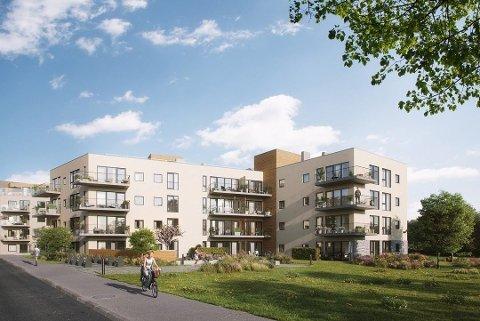 GÅR BRA: Interessen for de 32 nyeste boligene i Teieparken har vært god til tross for koronakrisen. OBOS-ledelsen forbereder seg imidlertid på et tøffere boligmarked utover året og vil kutte kostnader.