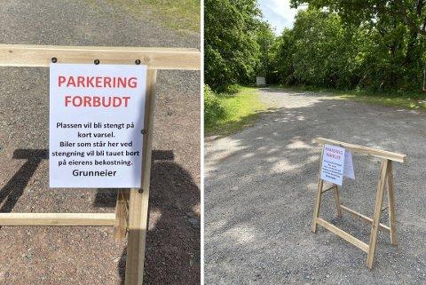 PARKERING FORBUDT: Dette skiltet har grunneier Dag Baldershage Hoel satt opp ved parkeringsplassen.