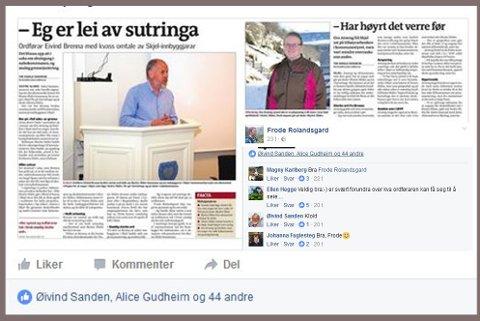 Skjermdump frå facebooksida til Frode Rolandsgard.