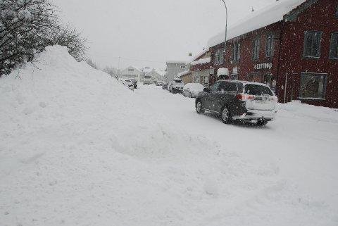 Snøvêr: Ganske så representativt bilete for vêret i Valdres i januar i år, her med tett snøvêr og store snøhaugar i Fagernes sist i månaden.