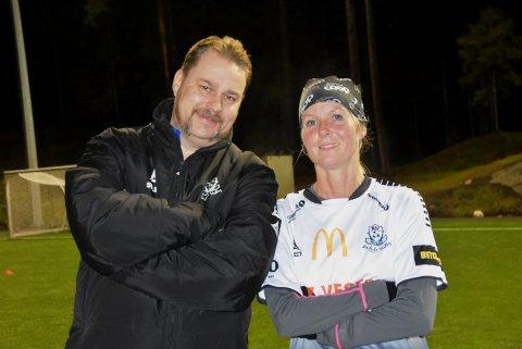 Like blide. HSV-trener Kurt Lien og måscorer Ann Merete Øiahals klarte å få frem smilet til tross for det skuffende resultatet hjemme mot Rolvsøy, som trolig fører til at de går glipp av seriemesterskapet.