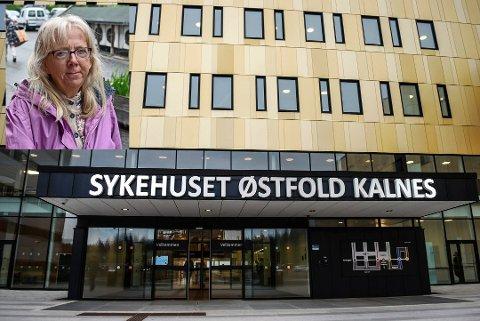 OPPRØRT: Marit Lise Petterson (innfelt) er opprørt over at Vestbys innbyggere har et svært dårlig kollektivtilbud til og fra vårt lokale sykehus, Sykehuset Østfold på Kalnes i Sarpsborg.