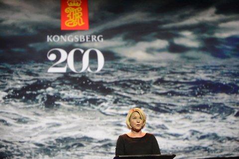 Næringsminister Monica Mæland er positiv til Kongsberg Gruppens idé om å etablere et Toppindustrisenter.
