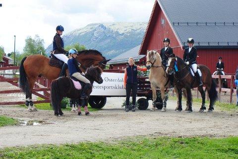 Fra venstre: Gøril Grindflek Granås på Didrik fra Øya, Ida Holmberg på Lobota, leder i klubben Elin (meg ) Anna Nordlund Wiger på Fløgstad Storm og Birgitte Garsjø på Fløtten Mira.