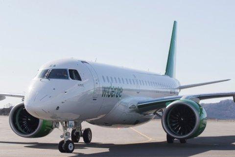 Widerøes nye jetfly Embraer 190 E-2. Foto: Terje Bendiksby / NTB scanpix