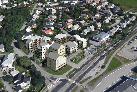 Herredshuset  fotomomtasje med ny bebyggelse.