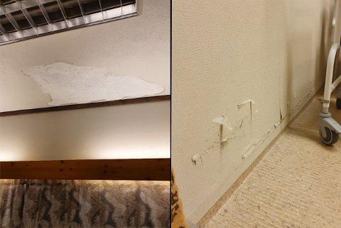 Nedslitte overflater, dårlige vinduer og maling som flasser. Slik er avdeling B ved Saltdal sykehjem. Foto: Saltdal kommune