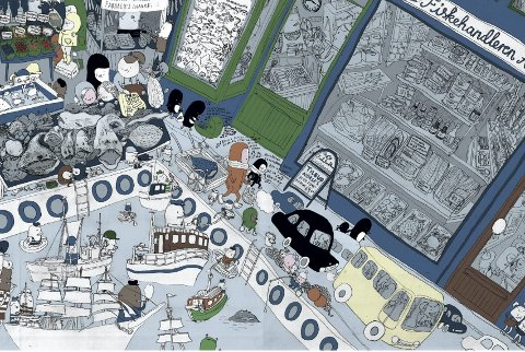Illustratør Åshild Kanstad Johnsen har tegnet Fiskertorget slik hun husker det fra barnsben av. Illustrasjon: Åshild Kanstad Johnsen