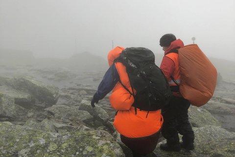 Det var svært dårlig sikt på toppen, bare rundt 25-30 meter, på grunn av tykk tåke.