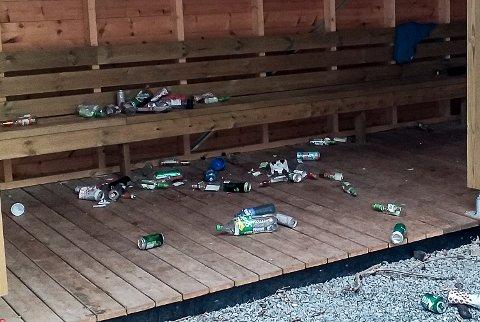 BEVIS: Slik ut søndag formiddag, etter ungdomsfesten i gapahuken ved Buskerud skole. De fleste av flaskene er etter alkoholholdige drikker. Men i løpet av søndagen ble det meste av søppelet fjernet.