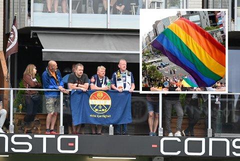 På flere verandaer på søndag kunne man se Godset-banner og flagg. Pride-flagg (innfelt) godtas heller ikke.