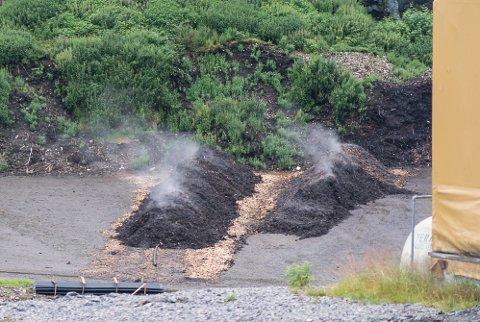 AKTIV: Dei nye rankane for slamkompostering dampar i veg inne på området