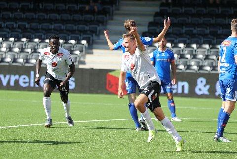 DEBUTMÅL: Steffen Skålevik brukte 13 minutt på å scora sitt første mål for Sogndal i laurdagens heimemøte med Ranheim.