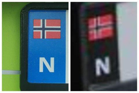IKKJE SLIK, MEN SLIK: Bilskiltet til venstre er slik det skal vere. Det til høgre kan koste deg ei bot, om du blir stoppa med det.