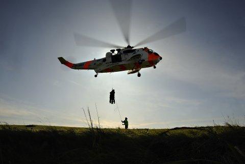 Sea King redningshelikopter fra Rygge på øvelse.