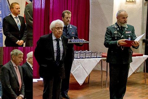 Ble hedret. De lokale veteranene Kjell Albertsen (til høyre), Magne Granerud (nederst til venstre) og Knut Sten Hansen fikk alle medalje for å ha deltatt i internasjonale operasjoner.