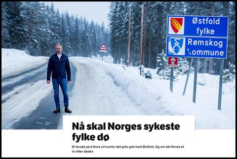 NRK illustrerer sitt oppslag med bilde av Thor-Håkon Ramberg, den siste ordføreren i Rømskog, kommunen som fra nyttår forlater Østfold og går inn i Akershus-kommunen Aurskog-Høland, samtidig med at Østfold slås sammen med Akershus og blir Viken.