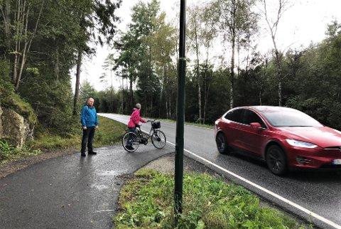 STI MØTER VEI: Hit, men ikke lenger, går sykkelstien. Nå håper Steinar Lieungh og Grete Hedlund i Missingmyr velforening på fortgang i byggingen av den siste stumpen med gang- og sykkelsti.