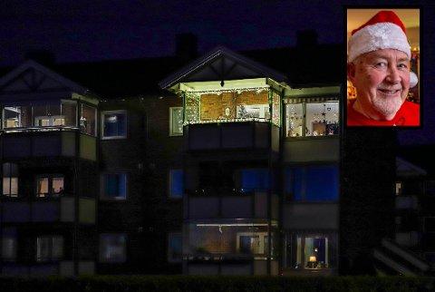 Det er liten tvil om hvor Rolf Stordahl (72) bor. Leiligheten øverst til høyre i blokka på Prestelandet setter de andre bokstavelig talt i skyggen. Slik så den ut tidlig torsdag kveld, etter at mye julepynt - og lys var fjernet.