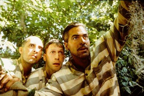 Hovedrollene Pete, Delmar og Everett på eventyr.