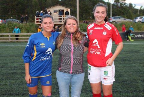 Trine Johnsen i midten, spilte lenge. Her flankeres hun av døtrene Julie ( t v) og Celina Johnsen Aasheim, som spiller for hvert sitt lag.