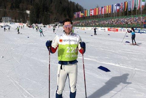 Sivert Wiig er reserve på torsdagens sprintøvelse i VM. Her fra en treningsøkt på stadion i VM-byen Oberstdorf.