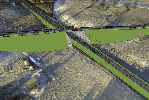 HELT NY KRYSSING: Veien vil gå opp på en ås og over jernbanen. Dette er en foreløpig tegning av hvordan den nye brua på Sander kan bli seende ut.