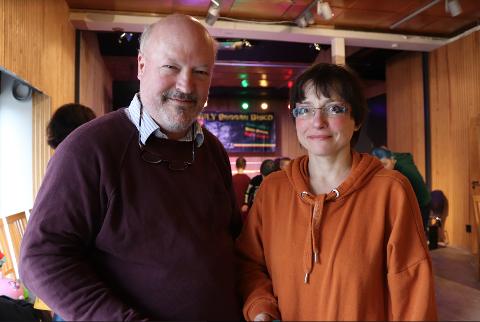 Tetyana og Emil Stang Lund eier og driver Vannvogna Konsert & Kunsthall i gågata.
