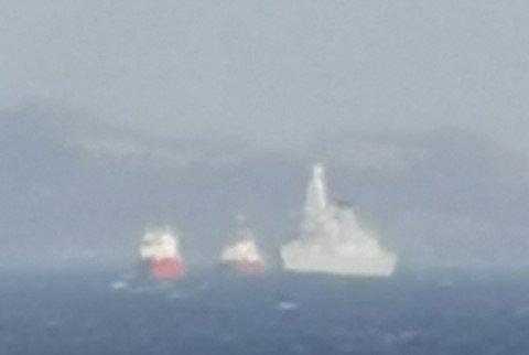 """BRITISK FREGATT: Den britiske fregatten HMS """"Dragon"""" fikk motorhavari i Boknafjorden tirsdag."""