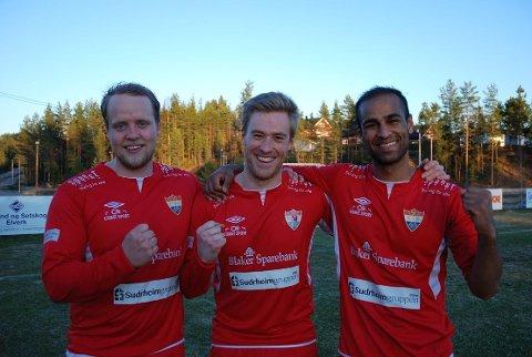 MÅLSCORERNE: Jørgen Tjernås (t.v.), Olav Feby og Saeed Rahim gjorde tre av Sørumsands fire mål mot Rømskog/Setskog.