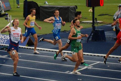 AVGJØRENDE FINISH: En gnistrende avslutning ga finale på 800 meter i U23-EM for Markus Einan (t.v.), men med et nødskrik. Foto: Jon Wiik