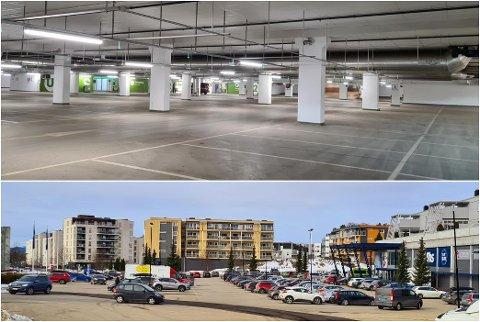 KONTRASTER: Øverste bilde viser et tomt parkeringshus på Jessheim Storsenter. Bildet under tatt på samme tid, viser full parkeringsplass på Coop Obs Jessheim. Foto: Ståle Lien Hansen