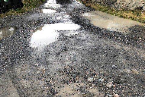 Veien til Skåtøy 12. november 2020.