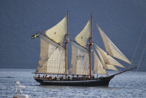 VIND I SEGLA: Svenske «Atene» segla inn til Rosendal hamn fredag kveld.