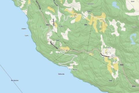 Det ei to kilometer lang vegstrekke i dette området det er tale om. (Kartutsnitt frå kommunen si kartteneste/Norkart).