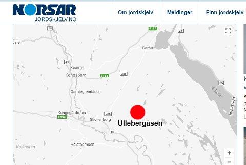 SKJELV: NORSAR som måler rystelser i jordskorpen, har registrert et mindre skjelv i Kongsberg mandag.