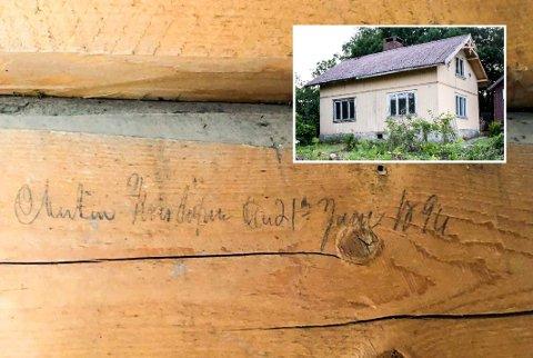 Huset på Sjåstad: Bjelken er helt klart datert 21. juli 1894, men navnet er mer uklart.