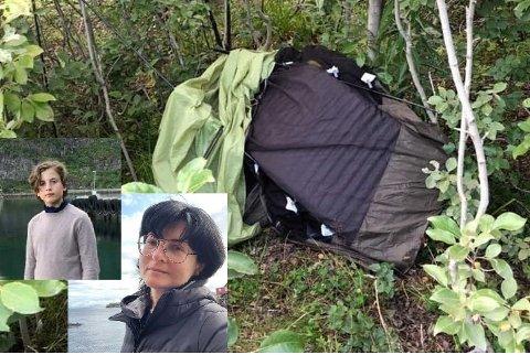 Kasia og den 12 år gamle sønnen (begge innfelt) fant teltet sitt i en haug, oppskåret og med knekte teltstenger.