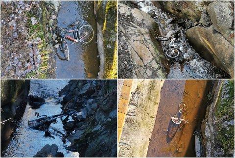 SYKKELJUV: Noen har falt for fristelsen og dumpet sykler i juvet på Kambo.