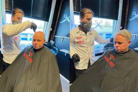 FORVANDLING: Jan-Erik Karlsen fra Moss ble svært fornøyd med hvordan løshåret ble seende ut etter at Rijad Ademi hadde vasket det.