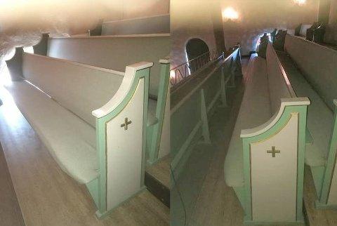 Disse kirkebenkene ligger ute for salg.