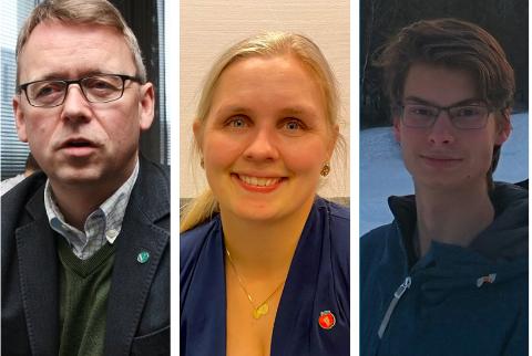 REAGERER: F.v: Morten Skandfer i Venstre, Ida Gårseth Hov i Frp og Unge Høyres Anders Tørresen mener kommunen må se på saken på nytt.